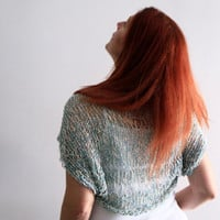 Sea foam shrug, summer wear, Ariane, handmade loose knit shrug