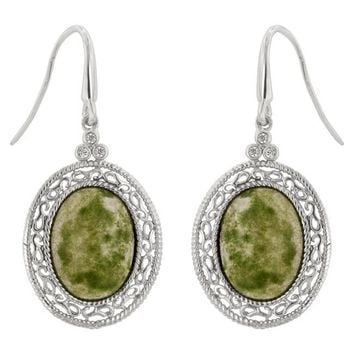 Delvani Artisan Crafted Simulated Jade Cabochon-Cut Gemstone Drop Platinum Clad Earrings