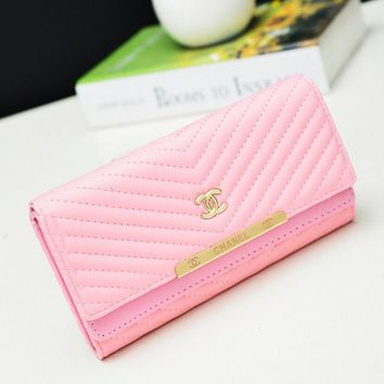 CHANEL Women Fashion Leather Buckle Wallet Purse Pink