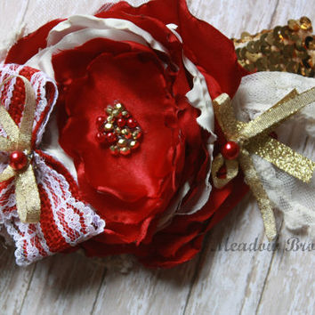 VALENTINE HEADBAND, red and gold, baby headband, toddler, girls, sequins, stacked flowers, over the top, photo prop, matilda jane, boutique