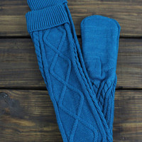 Teal Knitted Slippers, Boot Socks, Knit Legwear, Over the Knee, Cable Knit Socks, Warm Socks, Lounge Socks, Women's Legwarmers