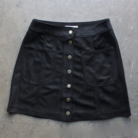 high standards suede skirt
