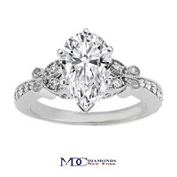 Engagement Ring - Pear Shape Diamond Butterfly Vintage Engagement Ring 0.16 tcw. In 14K White Gold - ES334PSWG