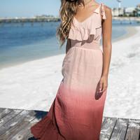Believe In Us Dusty Peach Dip Dye Ruffle Maxi Dress