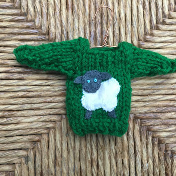 Custom Sheep Ornaments, Miniature Sweater Ornaments, Knitters Gift, Weaver, Spinning, Farm animal, Farm theme Gift, Sheep Love, Animal Lover