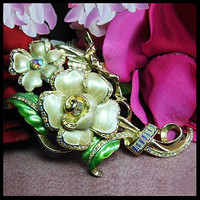 Vintage Kirk's Folly floral brooch. Signed KIRK'S FOLLY