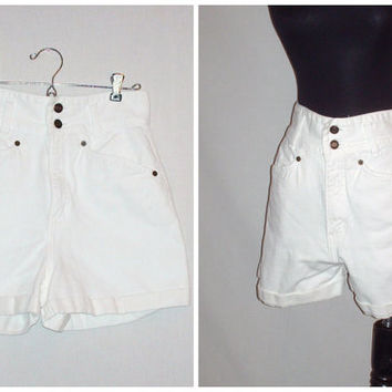 Vintage 1990s High Waist White Denim Shorts