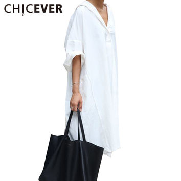 CHICEVER 2017 Women's Summer Long Shirts Dresses Female Casual Tops White Blouses Clothes Korean Large Size Loose Clothing