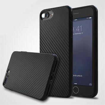 KRY Phone Cases Fashion 3D Texture Fiber Carbon For iPhone 7 Case 7 Plus Soft Luxury Cover For iPhone 6 Case 6s Plus Capa Coque