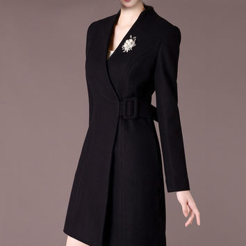 High Quality Vintage Belted Slim  Office Coat Elegant Skater Dress 50% Woolen Blend V-Neck Winter Warm Coats Overcoat