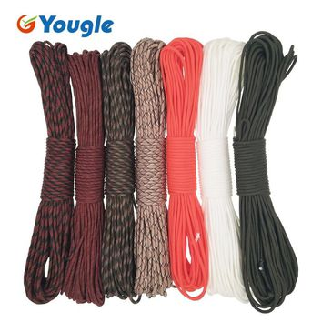 YOUGLE Paracord 550 Parachute Cord Lanyard Rope Mil Spec Type III 7Strands 100FT Climbing Camping survival equipment 4-10