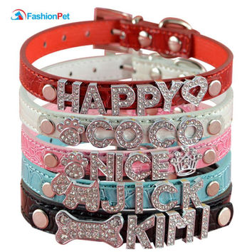 Leather Rhinestone Personalized  Collar