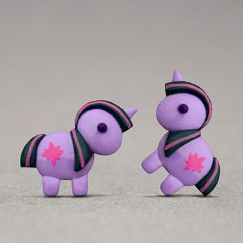 Twilight Sparkle Stud Earrings - Inspired By My Little Pony, Unicorn Lovers, Girly Jewelry