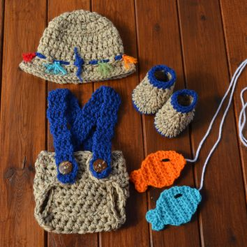 Crochet Baby Newborn Fisherman Photo Prop Outfit