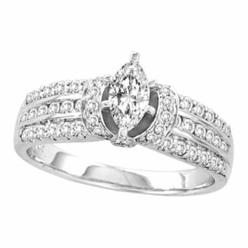 14kt White Gold Women's Marquise Diamond Solitaire Bridal Wedding Engagement Ring 1.00 Cttw - FREE Shipping (USA/CAN)