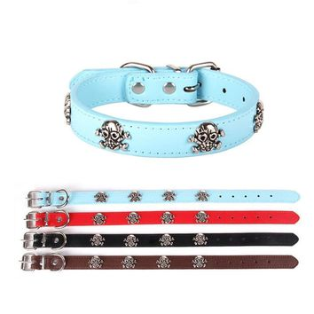 Adjustable Collar Skull Leather Buckle Collar for Small and Medium Dog and cats