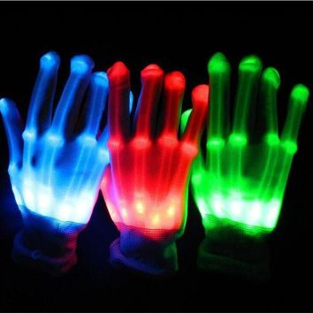 CREY6F 2017 Sale Costume Leds 1pairs Unisex Lighting Led Gloves Flash Toys Party Supplies Dancing Luminous Glowing Bone Skeleton Light