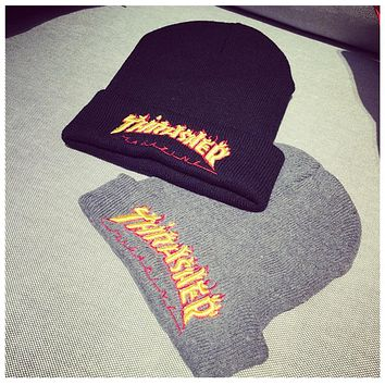 Thrasher Flame Embroidery Knit Hat