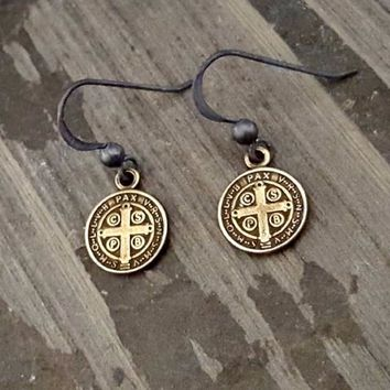 antique-brass-st-benedict-earrings-oxidized-silver-black-bronze-coin-dangle-earrings-antique-cross-saint-benedict-religious-cross