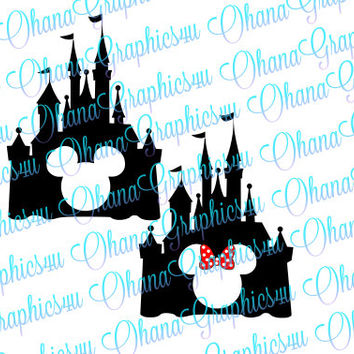Disney Inspired Castle with Mickey Mouse and Minnie Mouse Cut out SVG