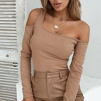 Action Packed Long Sleeve Cut Out Cold Shoulder Ribbed Pullover Sweater Top - 4 Colors Available
