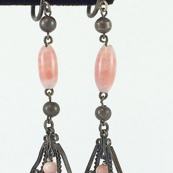 Vintage Victorian Coral Glass Earrings Antique Dangle Earrings Edwardian Filigree Drop Chandelier Earrings Vintage Jewelry Estate Jewelry