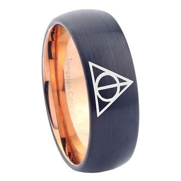 10mm Deathly Hallows Dome Tungsten Carbide Rose Gold Mens Promise Ring