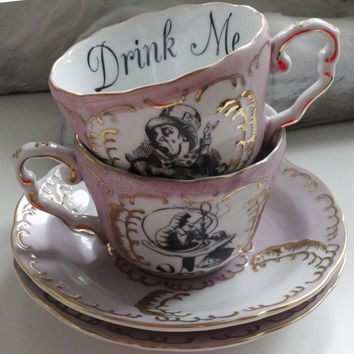 Alice in Wonderland Pink and Gold Teacup and Saucer Set,Lewis Caroll Teacup, Alice Tea Party, Wonderland Mug, Wonderland cup