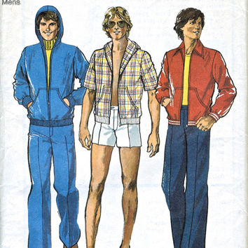 1977 Men's Jacket, Trousers and Shorts - 70's Casual Jacket / Hoody - Vintage Sewing Pattern - Chest 40""