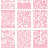 9 full box sticker, pink lace square sticker, life planner stickers, scrapbook reminder, geometric floral rose