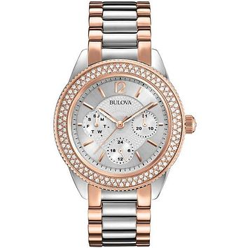 Bulova Crystal Two-Tone Ladies Day/Date Watch - Silver Dial - Steel & Rose Gold