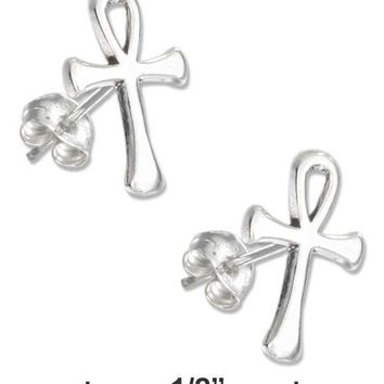 STERLING SILVER MINI ANKH EARRINGS ON STAINLESS STEEL POSTS AND NUTS