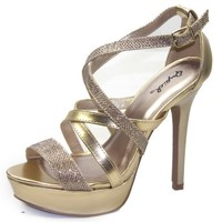 Women's Qupid Glitter-121X Strappy Sandals Fashion Shoes