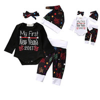 2017 my first new year 4Pcs/Sets Newborn Baby Girl Boy Clothes Letter Rompers+Pants+Hats+Headband Infants Kids Outfits Set