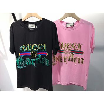 GUCCI 2018 Fashion Sequin Letter T-Shirt Shirt Tunic Blouse Top I-AA-XDD