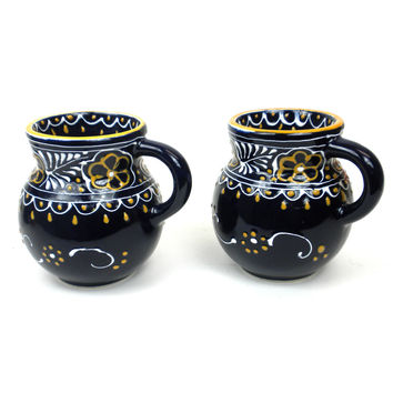 Mexican Ceramic Art Pottery  Pair of Mugs  or Beaker Cups - Blue Encantanda