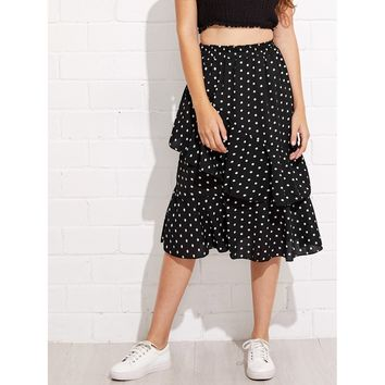 Black Polka Dot Long Full A-line Skirt