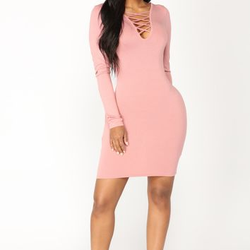 Zada Criss Cross Dress - Rose