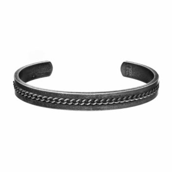 "316L Oxidized S. Steel Curb Chain Inlay Men's Cuff Bracelet - 8"" Adjustable"