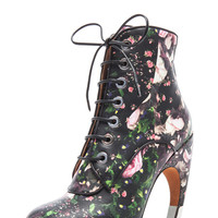 Nappa Leather Curved Heel Bootie in Floral Multi