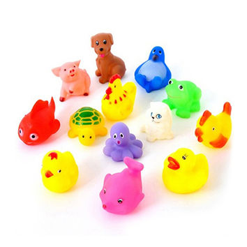 13Pcs Set Cute Soft Rubber Duck Float Squeeze Sound Baby Wash Bath Toys Play Animals Toys Kids Bath Toys