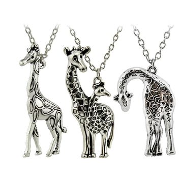 New DIY Vintage Silver Mother's Love Giraffe Pendant Necklace