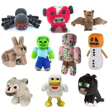 High Quality Cartoon Animals Pig Wolf Spider Chick Stuffed Toys Minecraft Plush Toys For Kids Factory Price