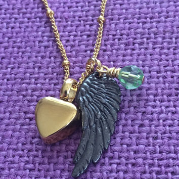 Urn Memorial cremation Jewelry Necklace - Remembrance Necklace - Sympathy Gift - Memorial Necklace - Angel Wing - Gold color