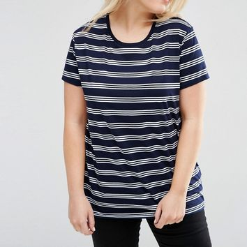 ASOS CURVE Round Neck T-Shirt In Stripe