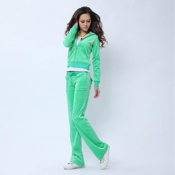 Juicy Couture Pure Color Velour Tracksuit 6047 2pcs Women Suits Green