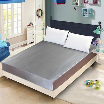 Satin Faux Silk Fitted Sheet Solid Color Mattress Cover Elastic Band Bed sheets US UK Single Twin Double Full Queen King Size