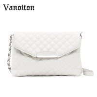 2016 New Fashion Chain Bag Messenger Womens Handbag Formal Plaid Leather Shoulder Bag Clutches Crossbody Bags Bolsa For Lady