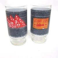 Blue Jeans Glasses Set Of Two Jeans USA Anchor Hocking