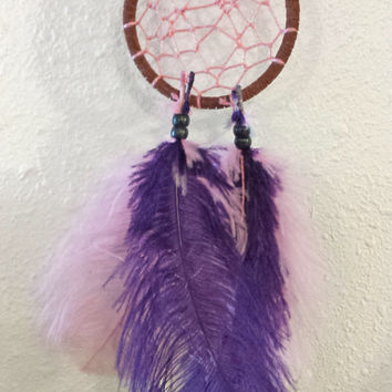 "Handmade 3"" Dream Catcher, Legend of the Dreamcatcher, Pink Purple Native American Indian Wall Hanging Decor, Feathers, Good Dreams"